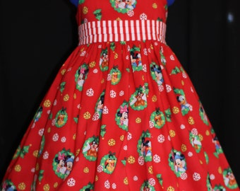 Disney Christmas Dress MICKEY MINNIE Sun Jumper Custom Size