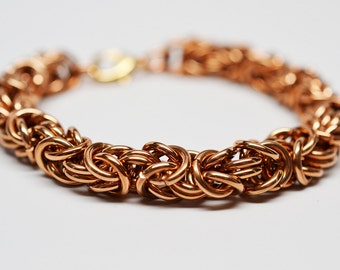 Bronze byzantine chunky 14 gauge chainmaille bracelet