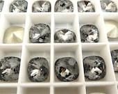 2 Silver Night Foiled Swarovski Crystal Square Cushion Cut Stone 4470 12mm
