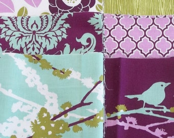 Modern Patchwork Baby Blanket Crib Blanket  - Eclectic made with the Aviary 2 Collection in Lilac (Plum) by Joel Dewberry - flannel back