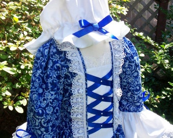 Girls Colonial ..Williamsburg Costume/Felicity   ..Plus Mob Cap..SPECIAL Order only..PLEASE read my lead time