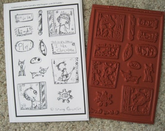 Rubber Stamp Set 1 Featuring the Art of Sunny Carvalho-Unmounted