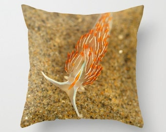 Opalescent Nudibranch In The Sand Sea Slug Pillow Cover Beautiful Sealife Ocean Creature Slug Marine Life natural History