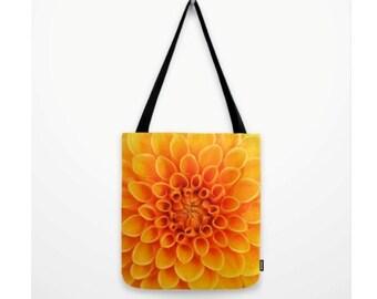 Orange Dahlia Flower Bag  Natural History Sweet Garden Gift Flower Print Orange Flower Botany