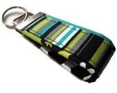 Fabric Key Fobs -  Fabric Keychain - Mini Key Fob - Key Fob - Lagoon Stripes