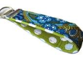 Fabric Key Fobs -  Fabric Keychain - Key Wristlet - Key Fob - Blue Earth Paisley