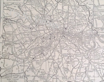 vintage 1926 map County of London England