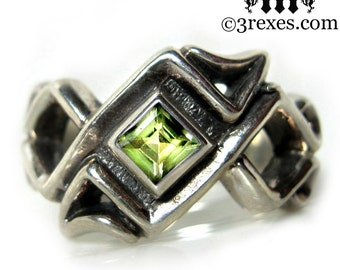 Mens Silver Celtic Ring Green Peridot Stone Gothic Wedding Band Bohemian Z Size 10