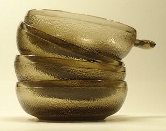 Set of Four Brown Glass Soup Crocks