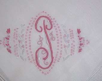 Vintage  White Hanky With a Pink Initial T