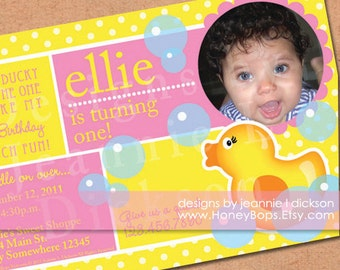Rubber Ducky Invitation for your next Birthday Party in Pink, Blue or Brown - DIY JPG file