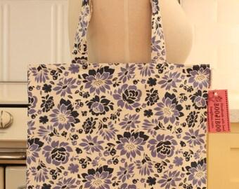 Book Bag Tote Purse - Blue Flowers
