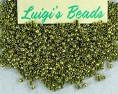 11/0 Round TOHO Japanese Seed Beads #991-Gold-Lined Peridot 15g - Use coupon code LUIGIS10 for 10% off