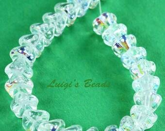 25 Crystal AB Flower Czech Glass Beads 8mm x 6mm