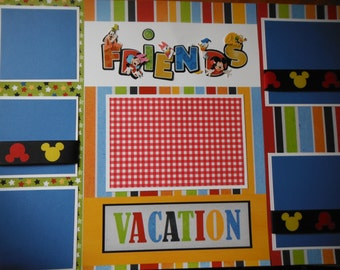Disney World Disney Land Friends Premade 12x12 Scrapbook Pages for GIRL BOY FAMILY