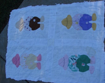 Vintage Overall Sam Feed Sack Fabric Cutter Quilt Piece
