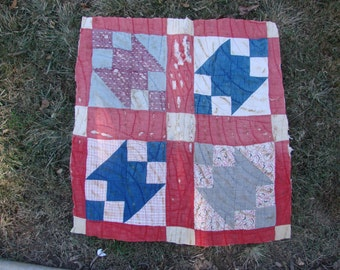 Vintage Hand Quilted Feed Sack Fabric Cutter Quilt Piece