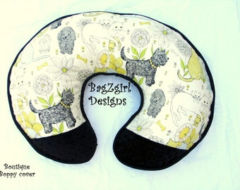 Modern- Boppy  Cover -Prints-Scottie dog-poodle -Kitties  --with Black Mink -Yellow Black -Boutique