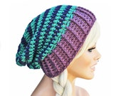 Slouch Beanie Striped Turquoise Navy Blue Purple