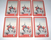 Vintage Playing Cards with Cat and Potted Flower Pots Grey and Red Striped Background Set of 6