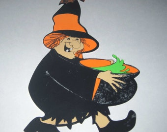 Vintage Orange and Black Witch with Bat and Cauldron Halloween Decoration or Die Cut