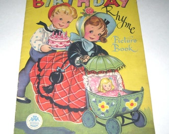 Birthday Rhyme Picture Book Vintage 1940s Over Sized Children's Textured Book by Merrill Publishers