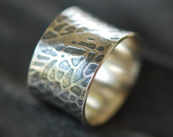 Sterling Silver Ring, Wide Flared Cigar Band, Leaf Pattern, Textured, Rustic, Oxidized