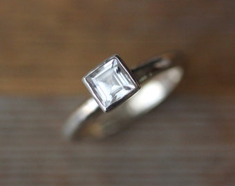 WhiteTopaz Princess Cut Solitaire or Stacking Ring, Combine to Make Stacking Ring Set, Clear Gemstone Ring
