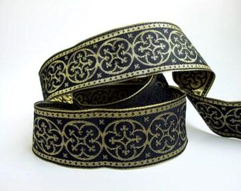 2 yards  BYZANTINE Jacquard trim in metallic antique gold on black. 1 5/8 inch wide. 958-B