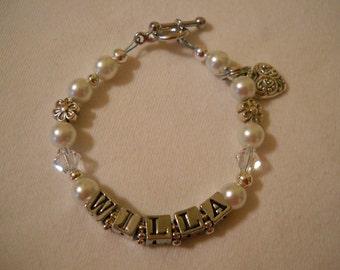 Pearl and Swarovski Crystal Name Bracelet