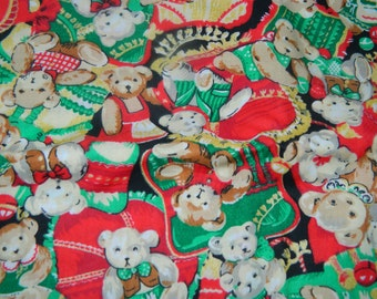 Christmas Teddy Bear Fabric, Quilt Pieces, Scraps, Craft Fabric, 100% cotton, Holiday Bear