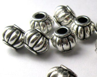 10mm Corrugated Large Hole Melon Silver Plated Plated Pewter Beads - Lead Free - 10