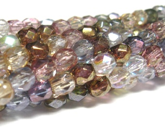 Czech Glass Bead Transparent Luster Mix 4mm Faceted Round 50 pc Full Stand