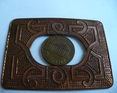 Vintage Brass Stamping, 1940s Nordic Viking Celtic Style, Large Detailed Rectangular Unplated Finding, 60x44mm, 1 piece (C4)