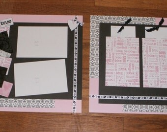 My True Love pre-made 12x12 scrapbooking layout pages