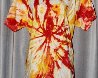 Tie Dye Shirt - Adult Large -  Crew Neck - Short Sleeve - Red, Yellow, and Orange