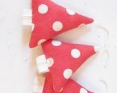 Christmas Tree Ornament . Modern Kids . Retro . Red Cream Dots . Tree Stuffy . Contemporary Decor