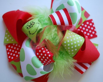 boutique MINI MOD GRINCHY Christmas hair bow clip