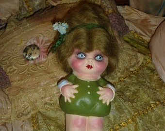 Chubby Carnival kewpie Doll Chalkware Flapper Upcycled