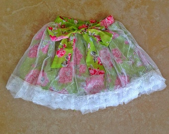 SALE - Skirt, Skort, Shabby Chic, Vintage Style Lace - Green Floral with Lace and Bow Belt