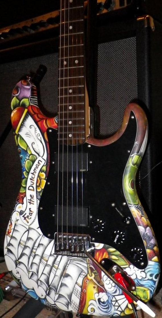 Tattoo Leather Guitar CUSTOM zombie themed banjo strap for customer Special order
