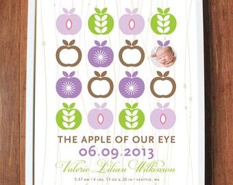 Apple Wall Art, modern nursery print, apple of my eye, baby room, custom print, birth date print, name print, CUSTOM 8x10