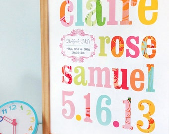 Name print nursery art with patterned letters, CUSTOM, LARGE