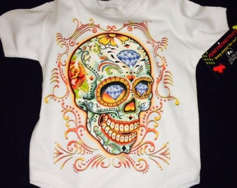 nwt white infant bodysuit or toddle tee day of the dead skull with diamonds