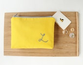 Personalized Cosmetic Bag, Yellow and Gray, Personalized Bridesmaid Gift, Monogram Make Up Bag, More Colors Available