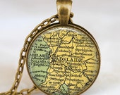 Adelaide map  necklace,  Adelaide Australia map pendant ,  Adelaide Australia glass dome pendant,map jewelry