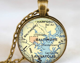 Baltimore map necklace, Baltimore map pendant, Baltimore maryland map jewelry gift for him her with gift bag