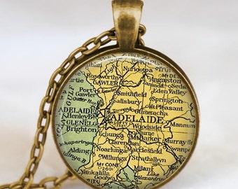 Adelaide map  necklace,  Adelaide Australia map pendant ,  Adelaide Australia glass dome pendant,map jewelry