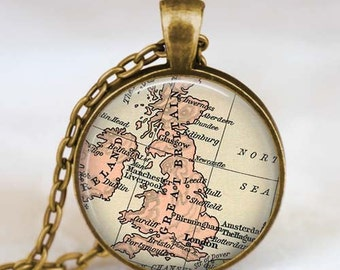 British isles map necklace, Great britain map pendant, Great britain map jewelry, map charm with rolo chain and gift bag