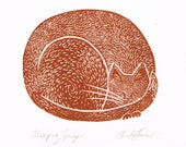 Original Lino Print of Sleeping Ginger Cat, Printmaking, Linocut, Ginger Cat, Original Print